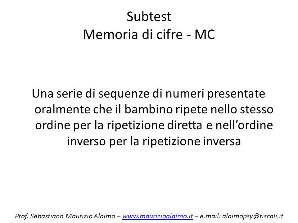 Subtest Memoria di cifre - MC