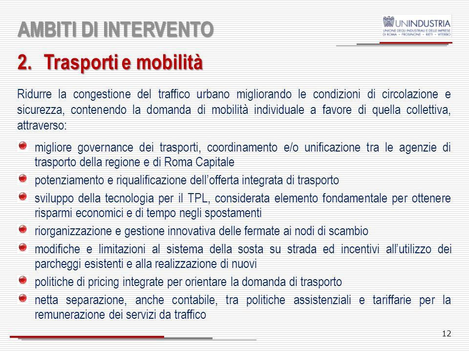 AMBITI DI INTERVENTO Trasporti e mobilità