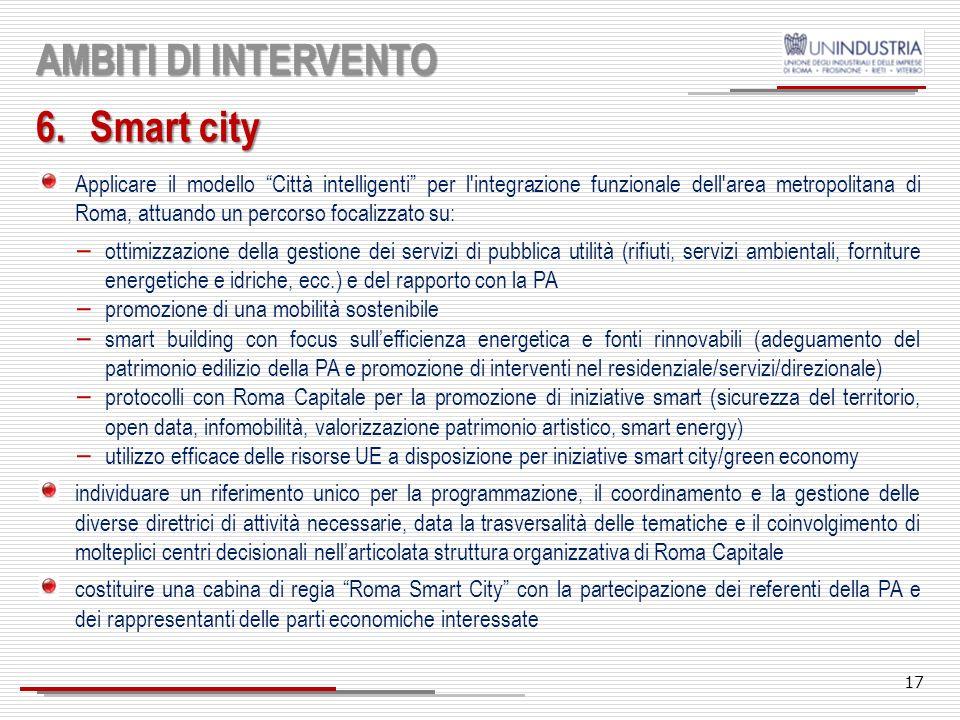 AMBITI DI INTERVENTO Smart city