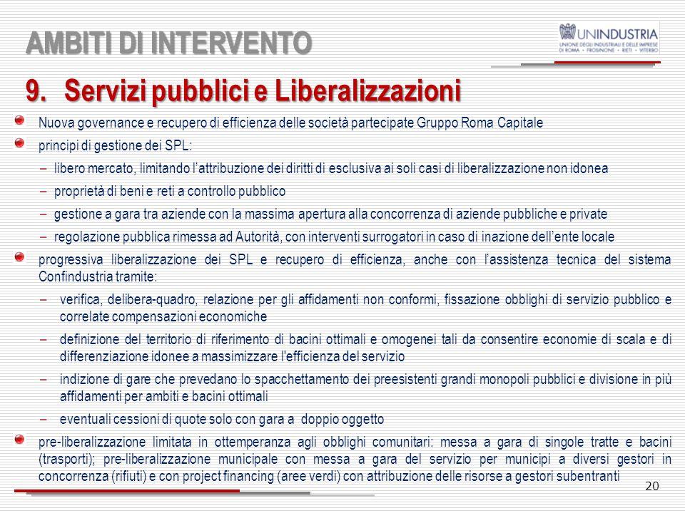 Servizi pubblici e Liberalizzazioni