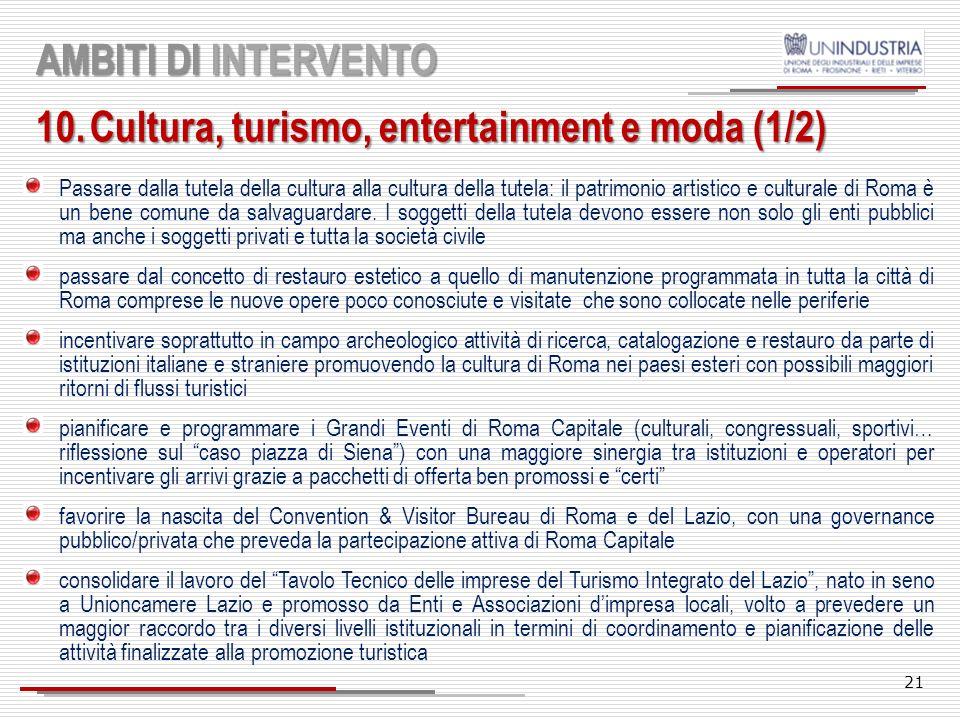 Cultura, turismo, entertainment e moda (1/2)