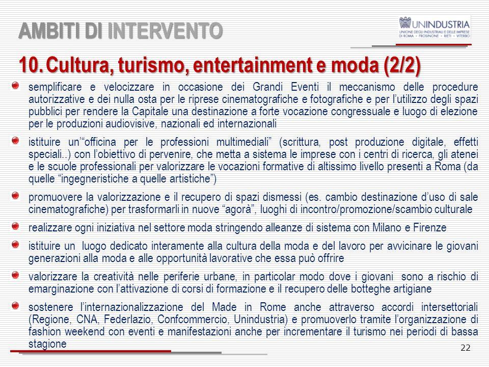 Cultura, turismo, entertainment e moda (2/2)