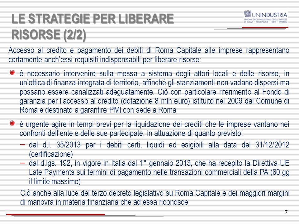 LE STRATEGIE PER LIBERARE RISORSE (2/2)
