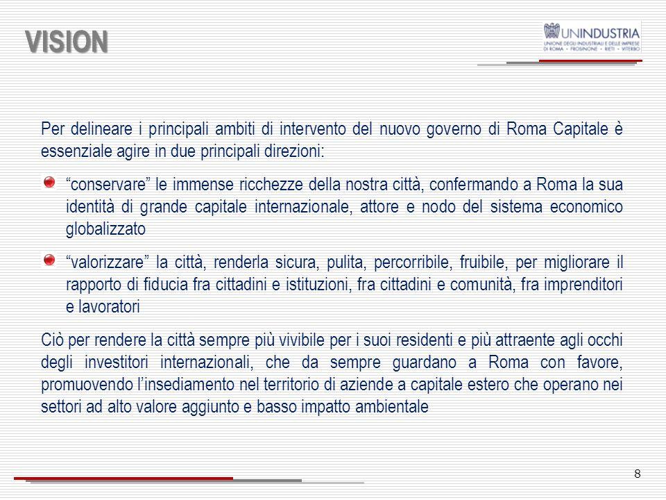 VISIONPer delineare i principali ambiti di intervento del nuovo governo di Roma Capitale è essenziale agire in due principali direzioni:
