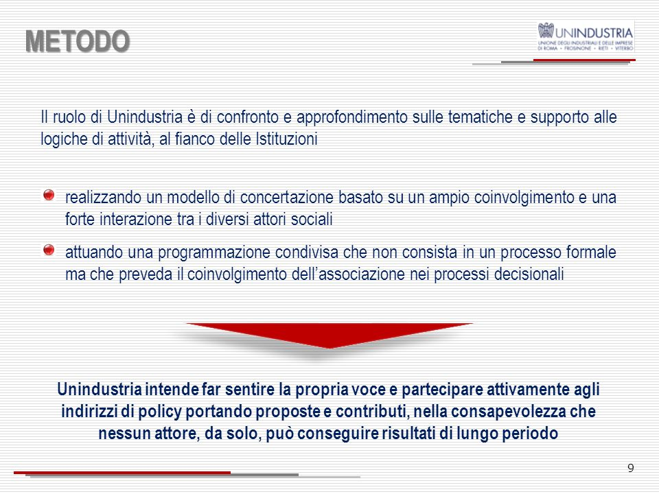 METODOIl ruolo di Unindustria è di confronto e approfondimento sulle tematiche e supporto alle logiche di attività, al fianco delle Istituzioni.