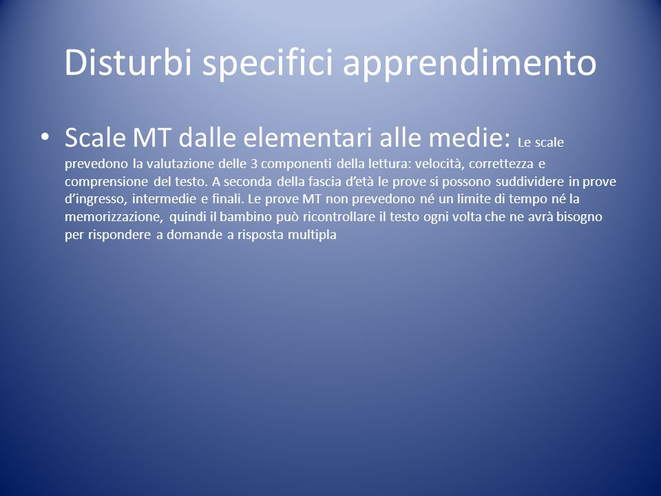Disturbi specifici apprendimento