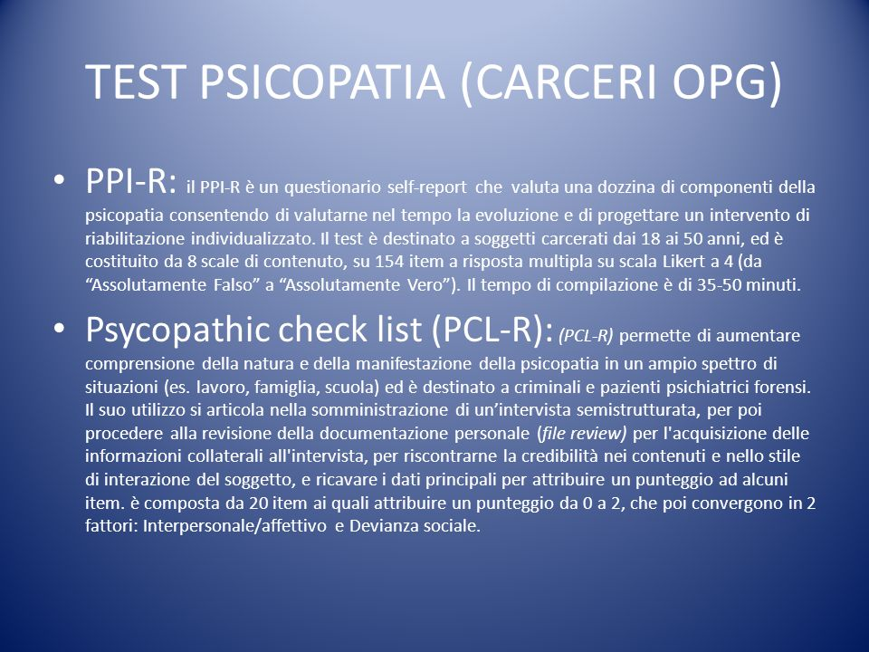 TEST PSICOPATIA (CARCERI OPG)
