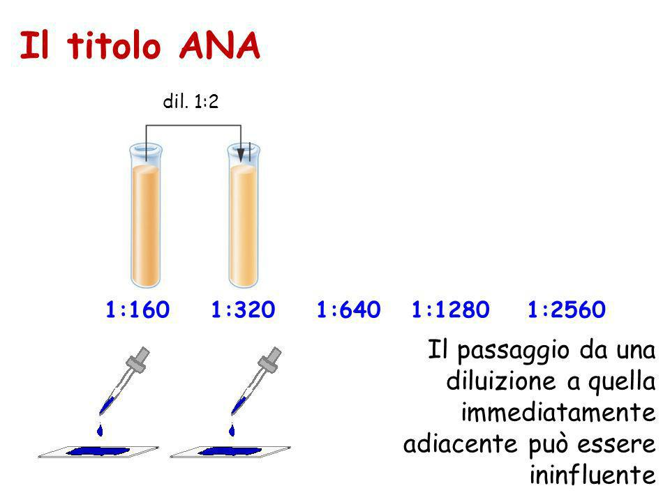 Il titolo ANA dil. 1:2. dil. 1:2. dil. 1:2. dil. 1:2. 1:160. 1:320. 1:640. 1:1280. 1:2560.