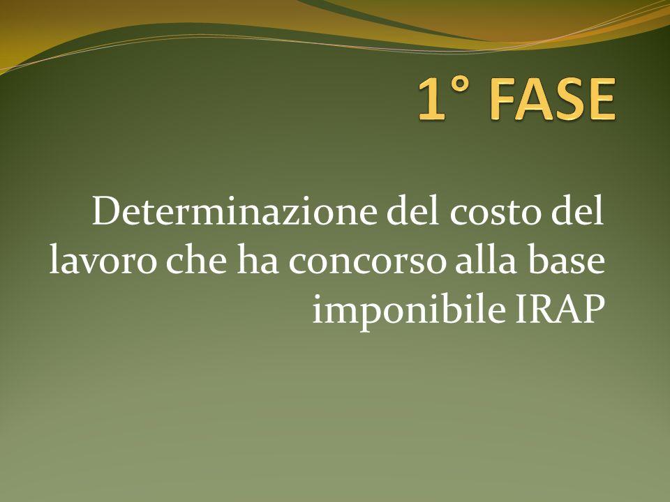 1° FASE Determinazione del costo del lavoro che ha concorso alla base imponibile IRAP