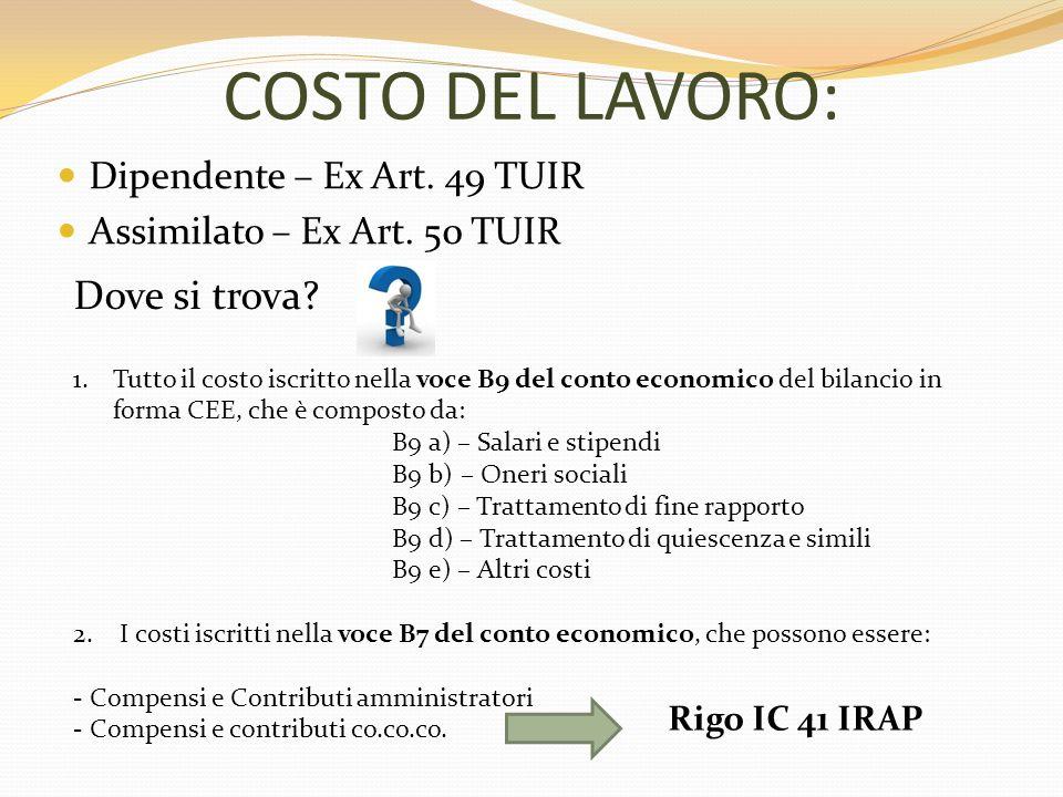 COSTO DEL LAVORO: Dove si trova Dipendente – Ex Art. 49 TUIR