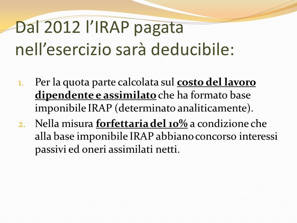 Dal 2012 l'IRAP pagata nell'esercizio sarà deducibile: