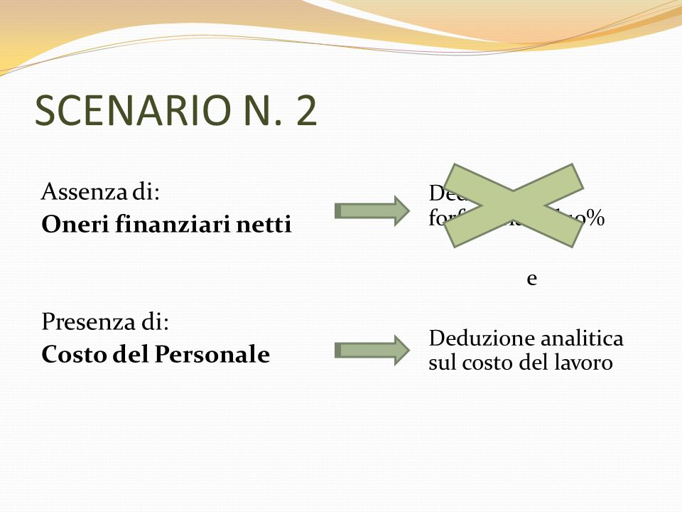 SCENARIO N. 2 Assenza di: Oneri finanziari netti Presenza di: