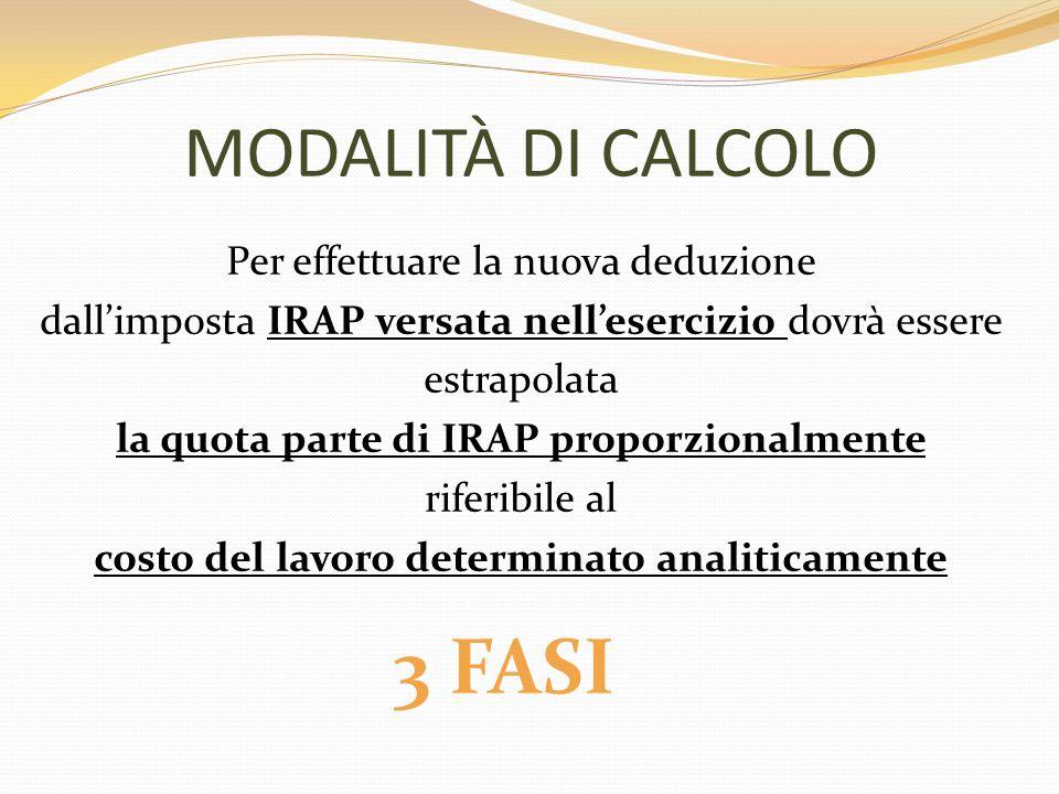 3 FASI MODALITÀ DI CALCOLO