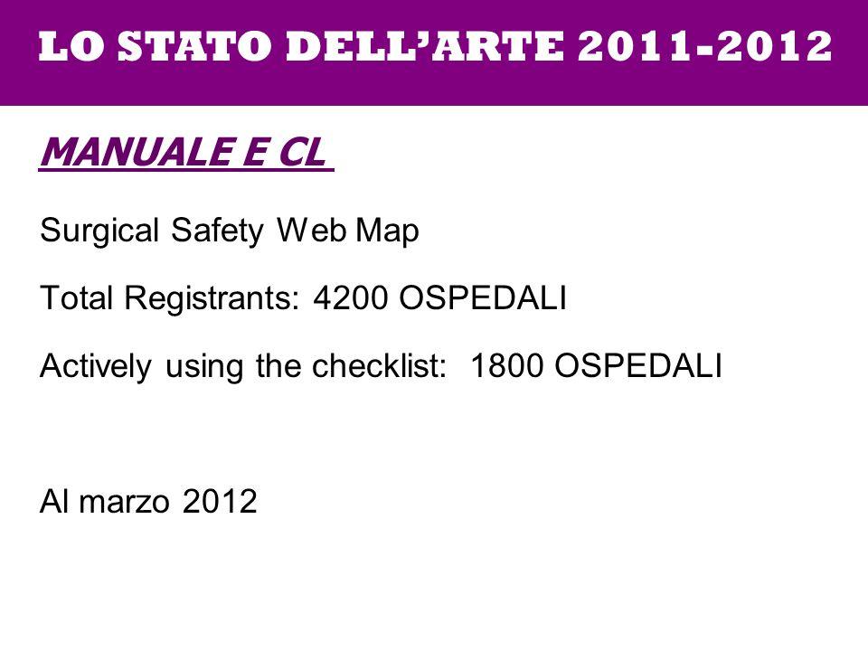 LO STATO DELL'ARTE 2011-2012 Manuale e CL Surgical Safety Web Map