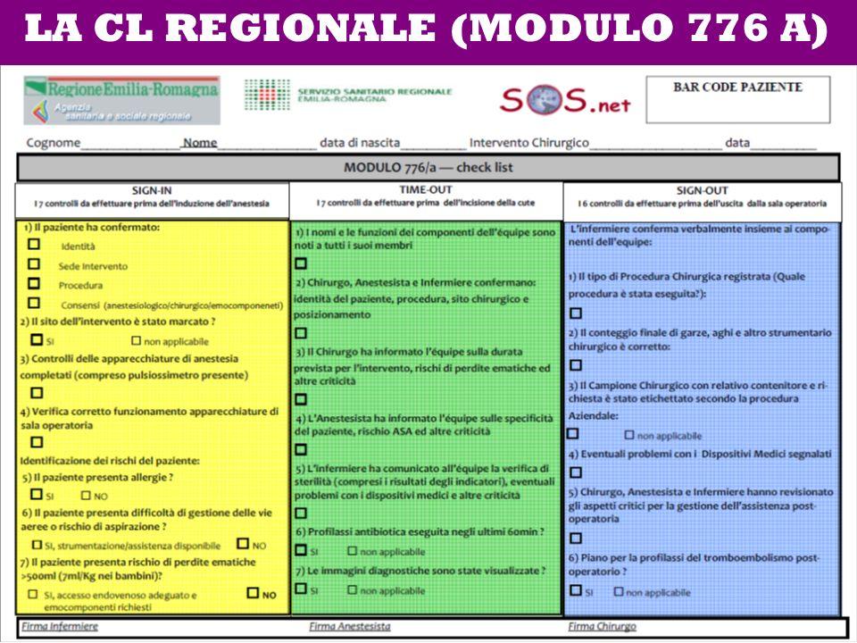LA CL REGIONALE (MODULO 776 A)