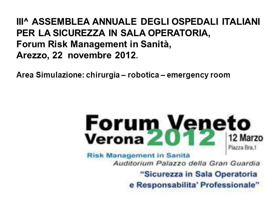 III^ ASSEMBLEA ANNUALE DEGLI OSPEDALI ITALIANI