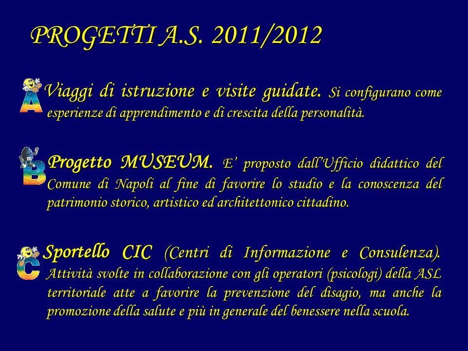 PROGETTI A.S. 2011/2012 Viaggi di istruzione e visite guidate. Si configurano come esperienze di apprendimento e di crescita della personalità.