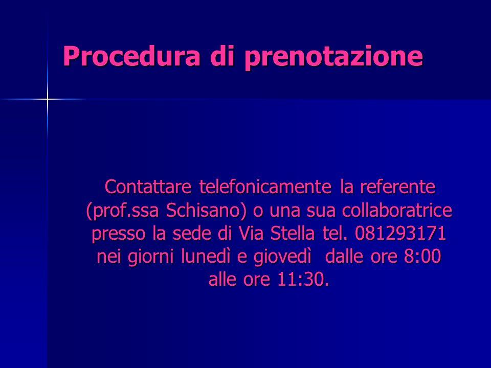 Procedura di prenotazione