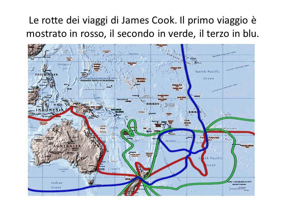 Le rotte dei viaggi di James Cook