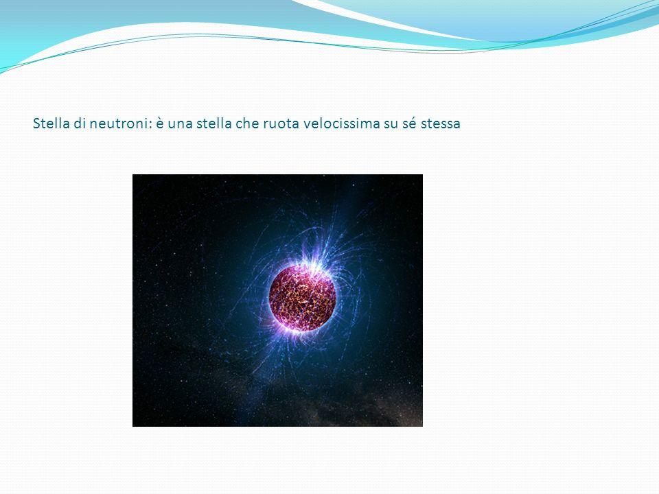 Stella di neutroni: è una stella che ruota velocissima su sé stessa