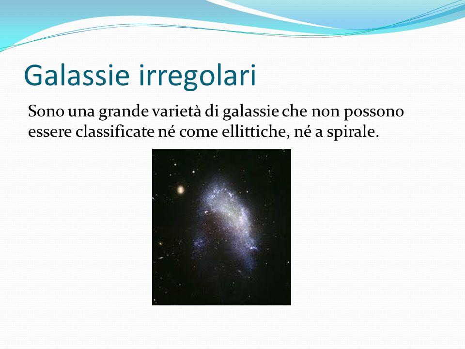 Galassie irregolari Sono una grande varietà di galassie che non possono essere classificate né come ellittiche, né a spirale.