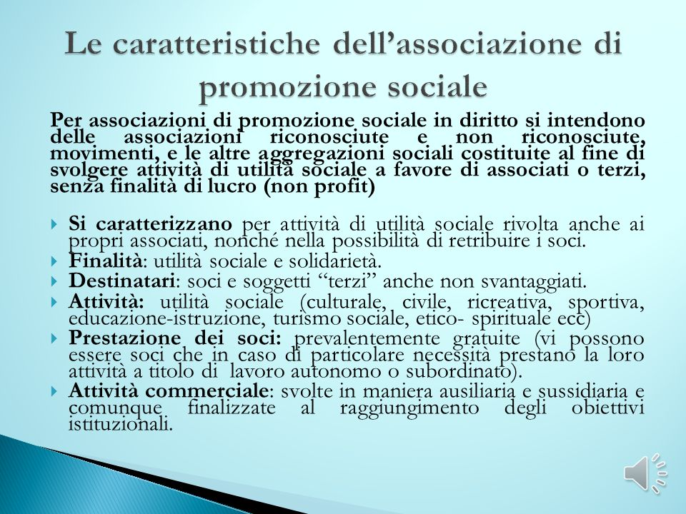 Le caratteristiche dell'associazione di promozione sociale