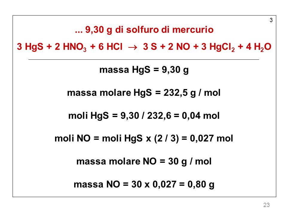 ... 9,30 g di solfuro di mercurio