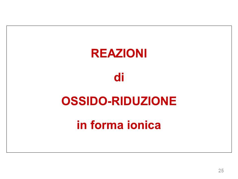 REAZIONI di OSSIDO-RIDUZIONE in forma ionica