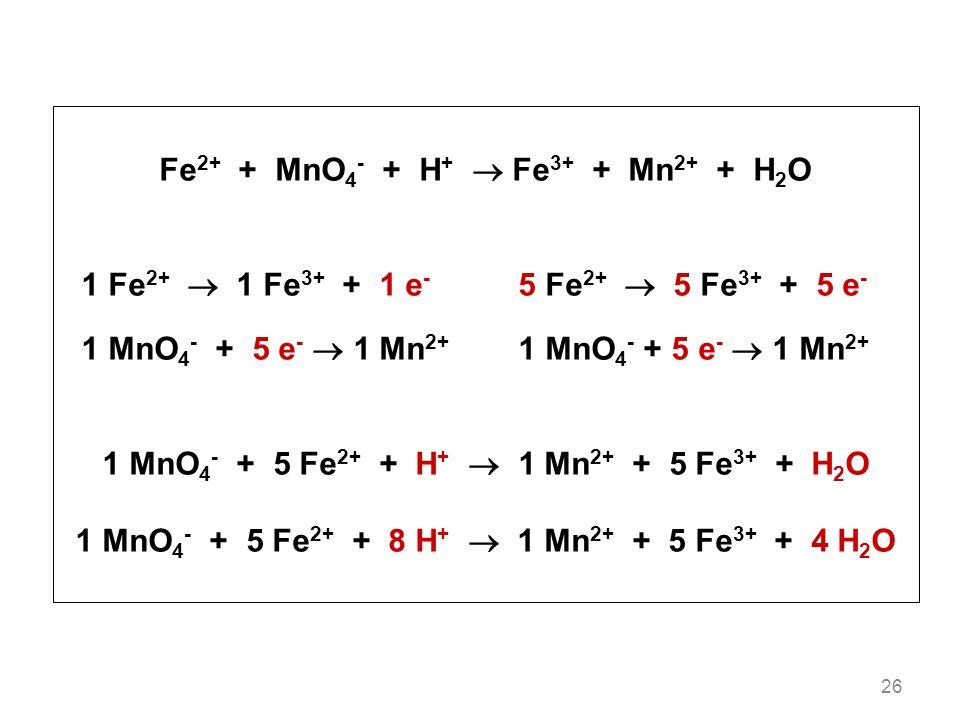 Fe2+ + MnO4- + H+  Fe3+ + Mn2+ + H2O