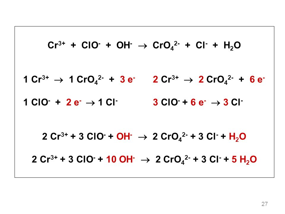 Cr3+ + ClO- + OH-  CrO42- + Cl- + H2O