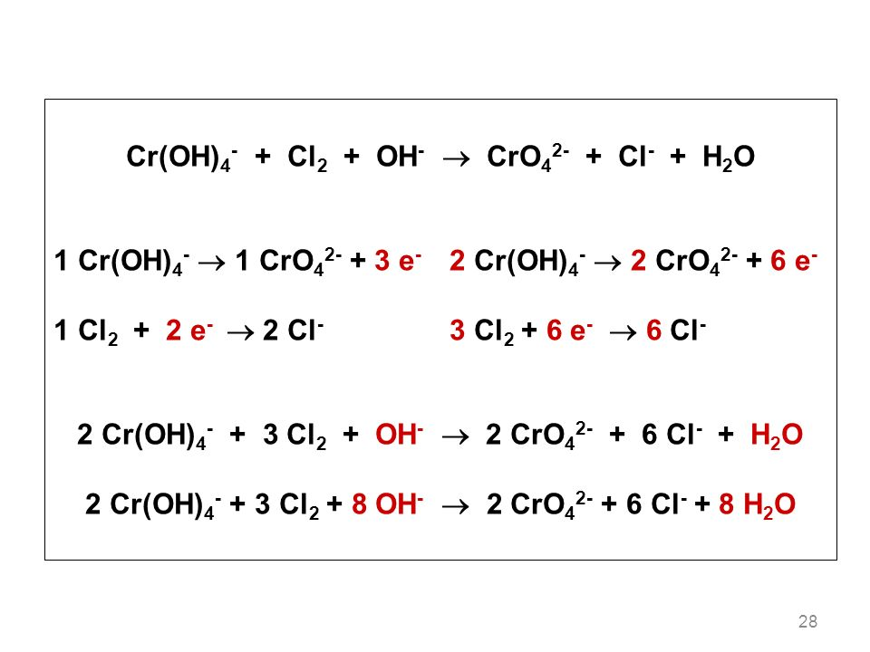 Cr(OH)4- + Cl2 + OH-  CrO42- + Cl- + H2O