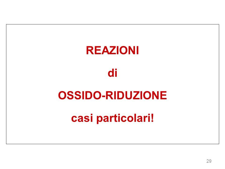 REAZIONI di OSSIDO-RIDUZIONE casi particolari!