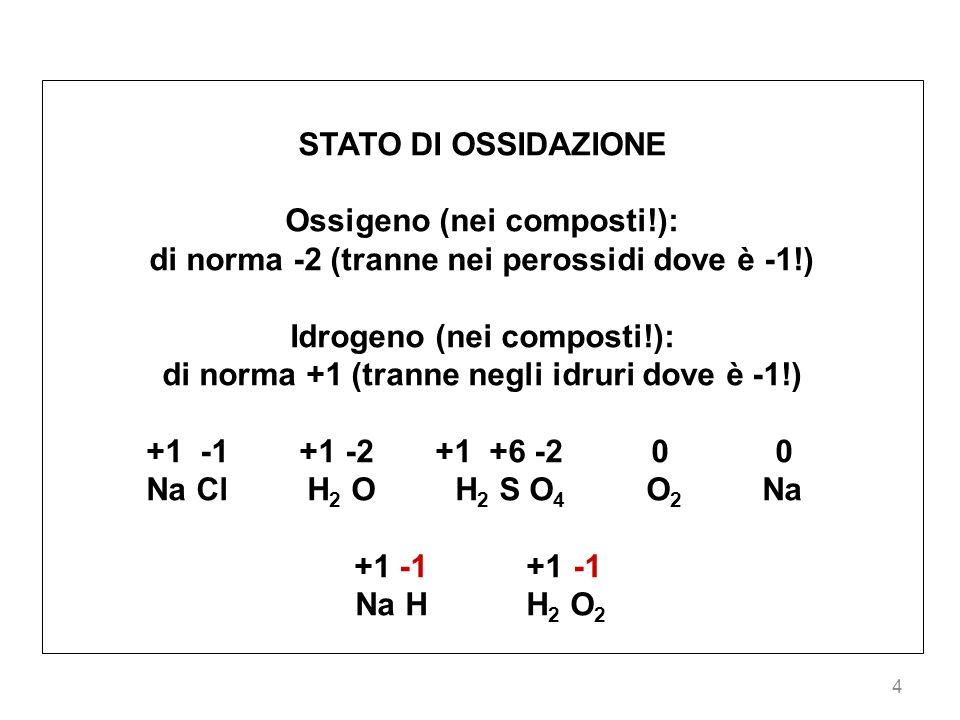 Ossigeno (nei composti!):