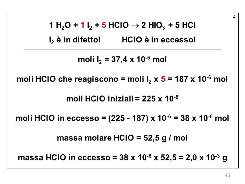 I2 è in difetto! HClO è in eccesso! moli I2 = 37,4 x 10-6 mol