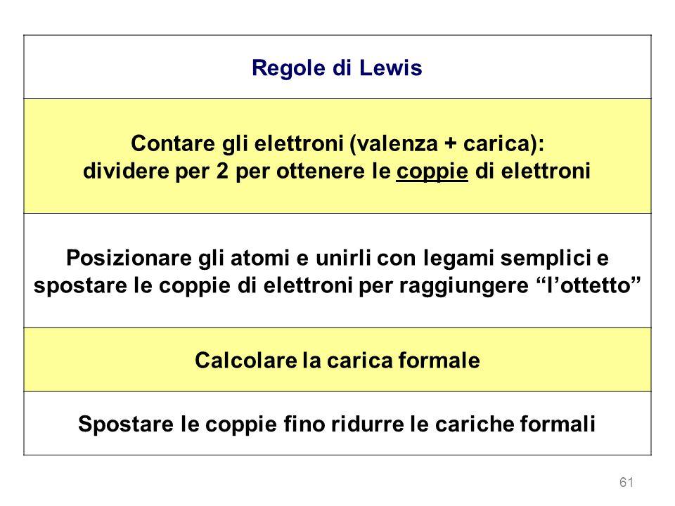 Contare gli elettroni (valenza + carica):