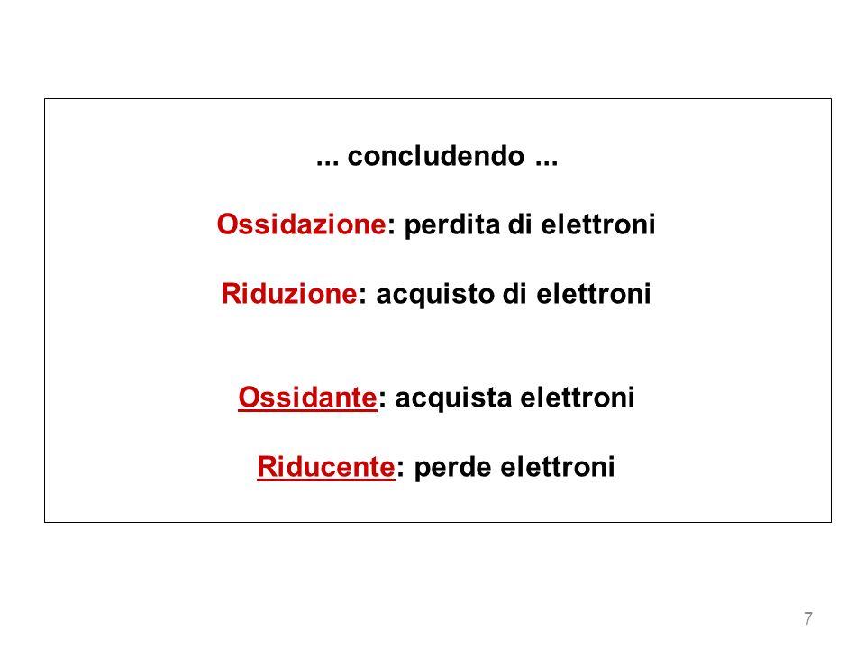 Ossidazione: perdita di elettroni Riduzione: acquisto di elettroni