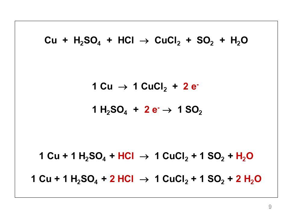 Cu + H2SO4 + HCl  CuCl2 + SO2 + H2O