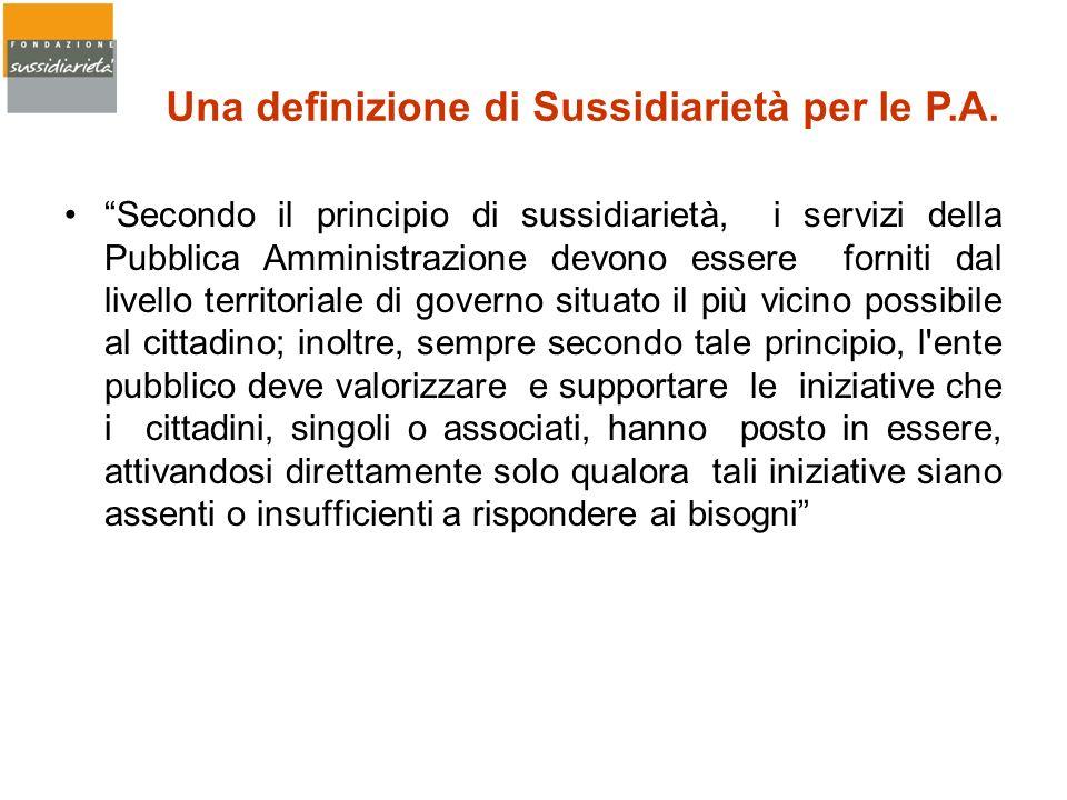 Una definizione di Sussidiarietà per le P.A.
