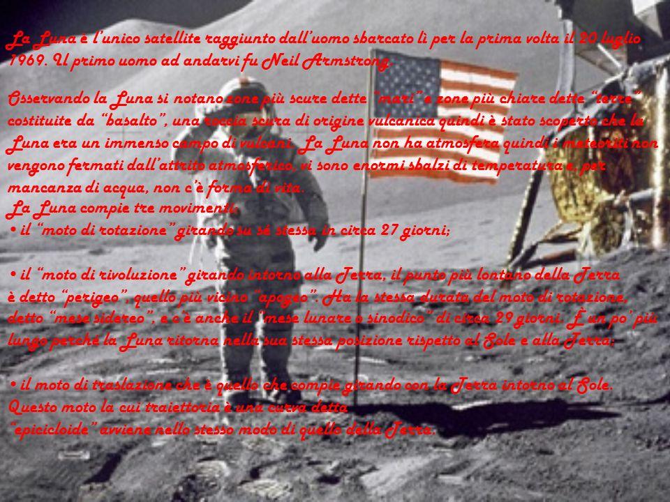 La Luna è l'unico satellite raggiunto dall'uomo sbarcato lì per la prima volta il 20 luglio 1969. Il primo uomo ad andarvi fu Neil Armstrong.