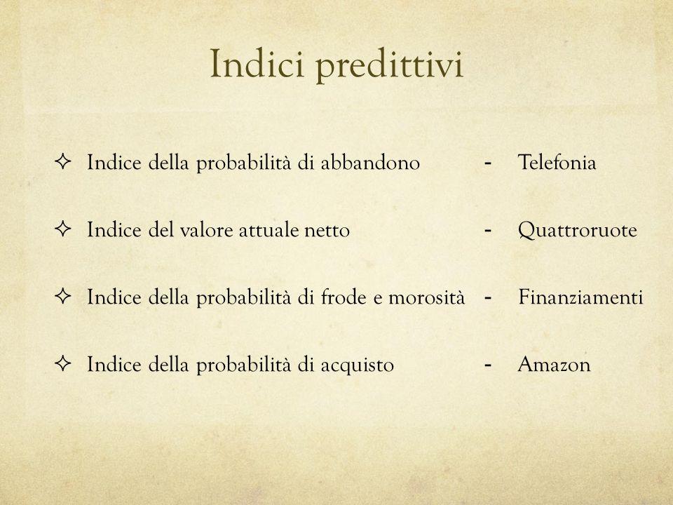Indici predittivi Indice della probabilità di abbandono