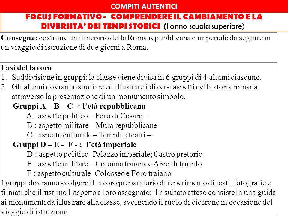 COMPITI AUTENTICI FOCUS FORMATIVO - COMPRENDERE IL CAMBIAMENTO E LA DIVERSITA' DEI TEMPI STORICI (I anno scuola superiore)