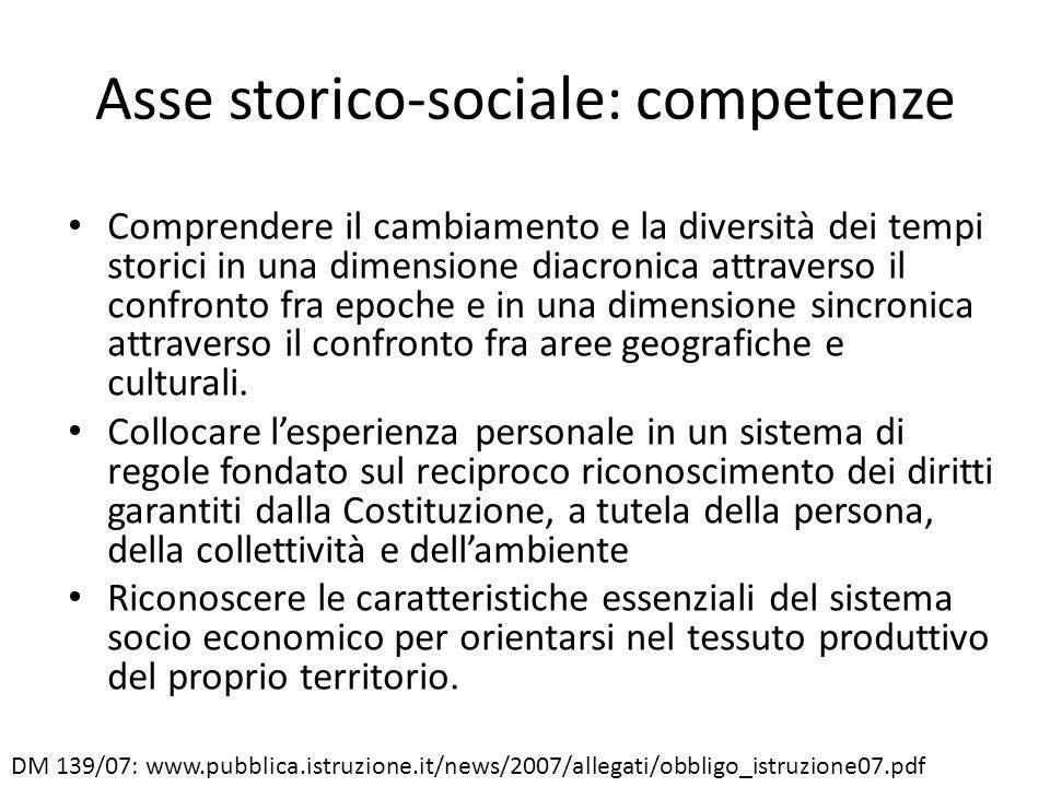 Asse storico-sociale: competenze