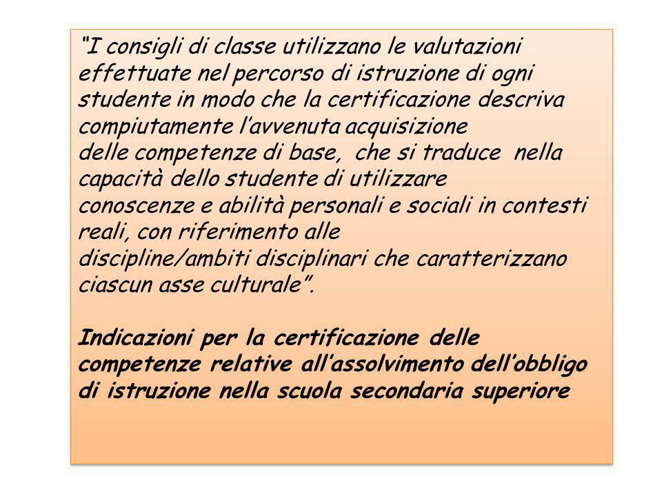 I consigli di classe utilizzano le valutazioni effettuate nel percorso di istruzione di ogni