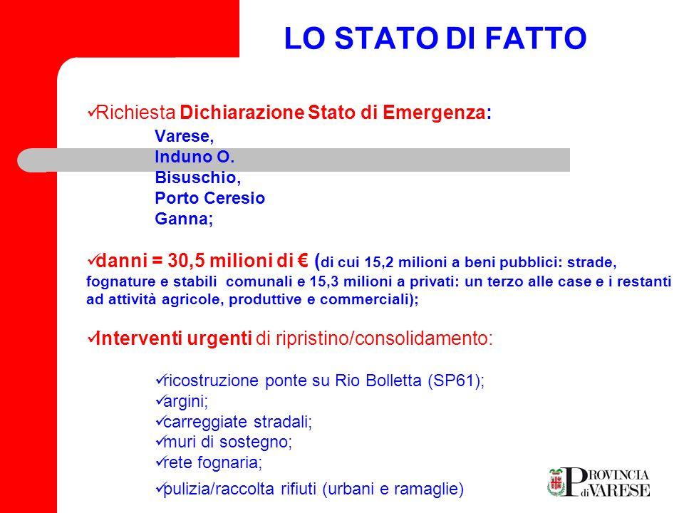 LO STATO DI FATTO Richiesta Dichiarazione Stato di Emergenza: Varese,