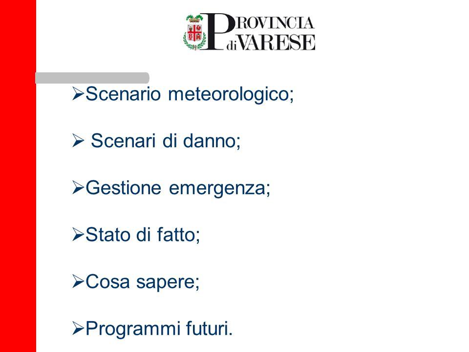 Scenario meteorologico; Scenari di danno; Gestione emergenza;