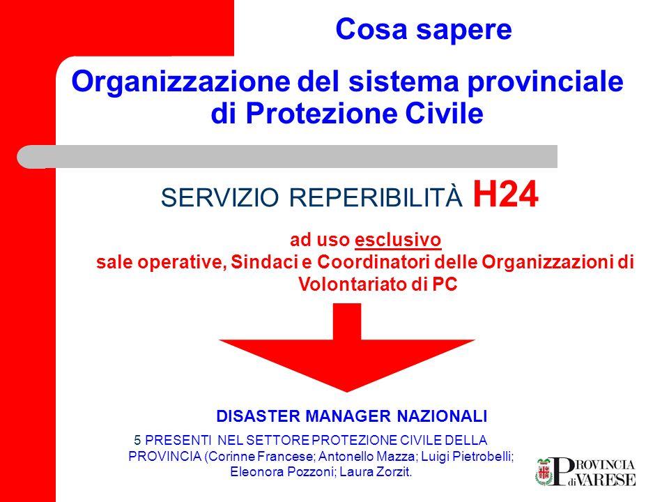 Organizzazione del sistema provinciale di Protezione Civile