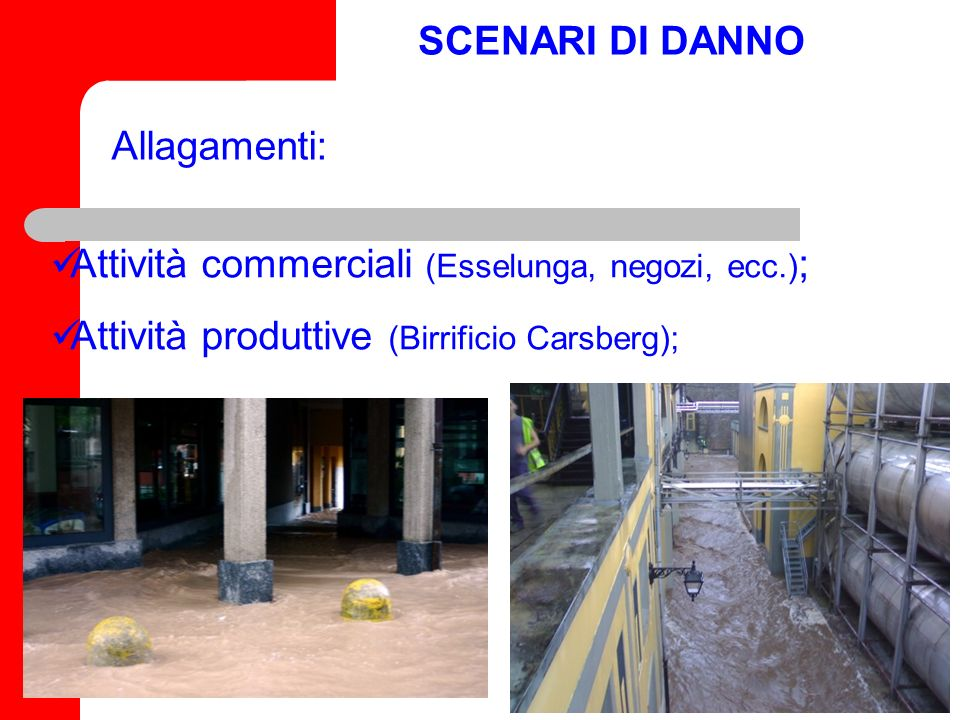 SCENARI DI DANNO Allagamenti: Attività commerciali (Esselunga, negozi, ecc.); Attività produttive (Birrificio Carsberg);