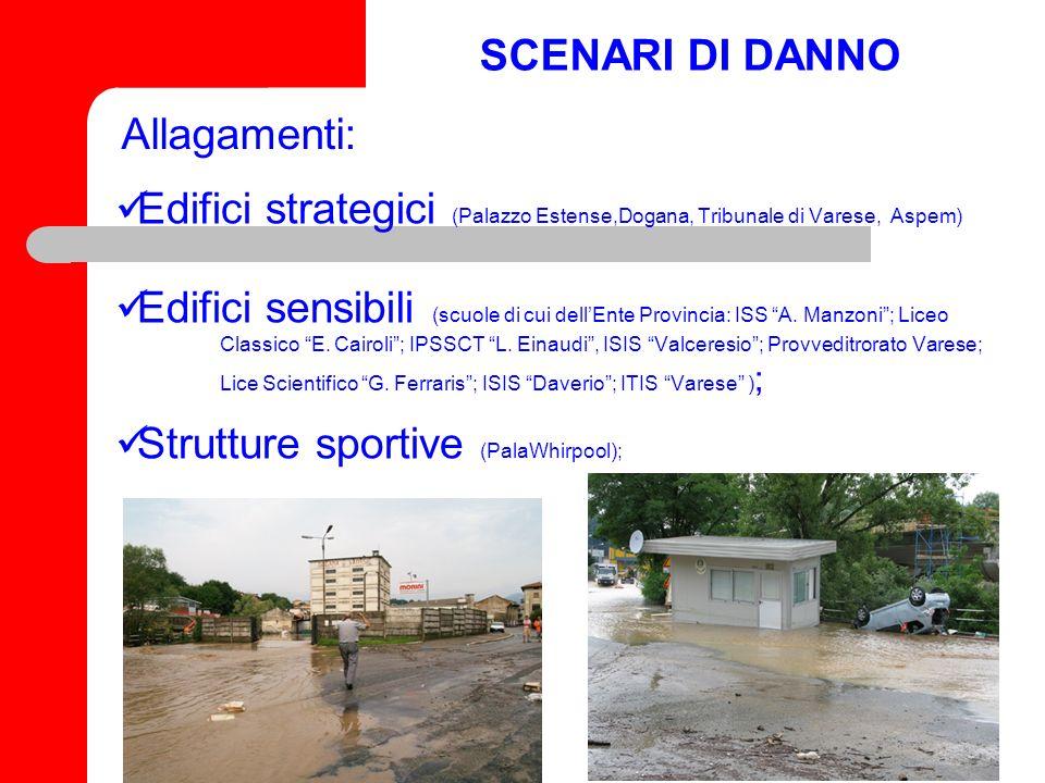 SCENARI DI DANNO Allagamenti: Edifici strategici (Palazzo Estense,Dogana, Tribunale di Varese, Aspem)