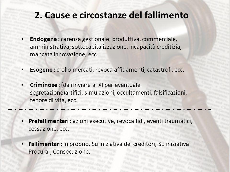2. Cause e circostanze del fallimento