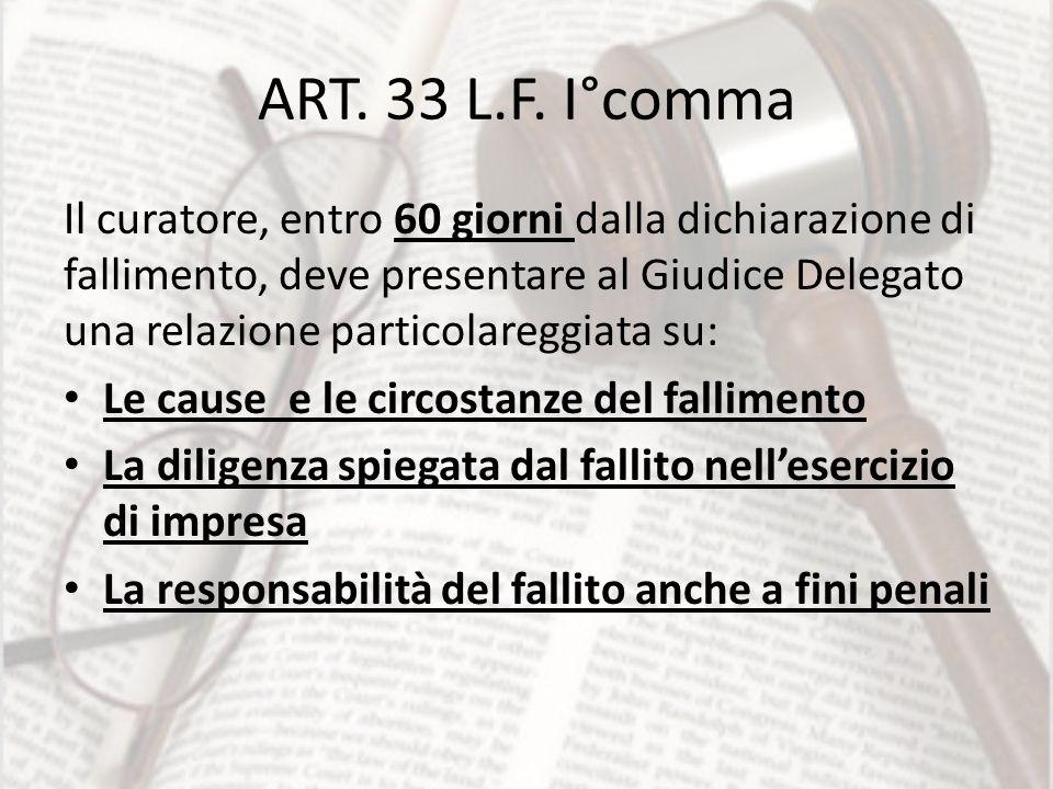 ART. 33 L.F. I°comma